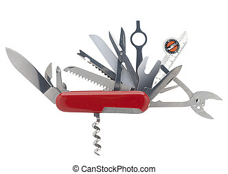 swiss army knife with all blades open on white with clipping path