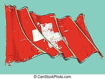 Swiss Artistic Brush Stroke Waving Flag