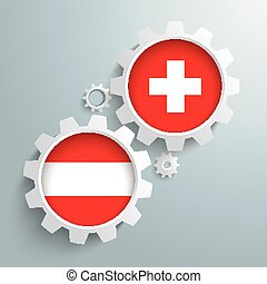 Swiss Austria Partnership Gears - White gears with Austria...