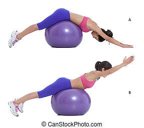 Swiss ball back extension - Step by step instructions for...