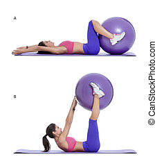 Step by step instructions for abs: Lie on your back with your hands out to your sides while squeezing a swiss ball in between your feet. (A) Keeping your legs as straight as possible, lift the ball up and off of the ground. Push the ball towards the sky while curling your lower back off of the floor...