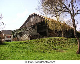 Swiss barn - A barnyard in the Swiss region of Gruyere