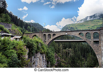 Swiss bridges - View on a viaduct of the Rhaetian Railway...