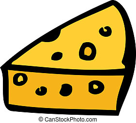 Swiss cheese - Cartoon food illustration of a wedge of swiss...