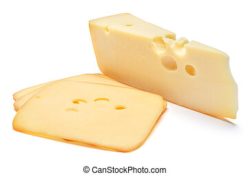 swiss cheese or cheddar on white background - swiss cheese...