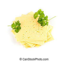 swiss cheese slices on white background.