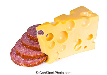 Swiss cheese with holes of a salami slices