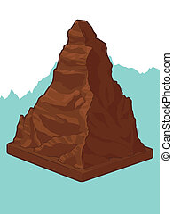 A vector image of a chocholate in the shape of Matterhorn mountain. Good for many application. Available as a Vector in EPS8 format that can be scaled to any size without loss of quality. The graphics elements are all can be moved or edited individually.