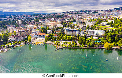 Swiss city of Lausanne on Lake Leman in summer