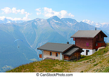 Swiss country houses in the mountains