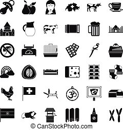 Swiss cow icons set, simple style