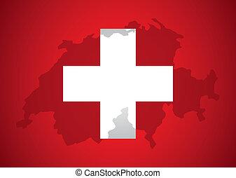Swiss design over red background, vector illustration