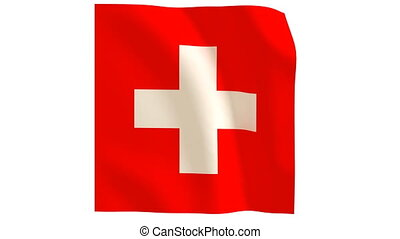 Swiss flag 020 - The Swiss flag with wind.