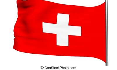 swiss flag 3d animation on white background