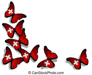 Swiss flag butterflies, isolated on white background