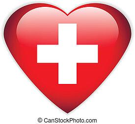 Swiss flag button. - Swiss flag button on a white...