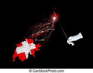 Swiss flag held by a hand in white glove