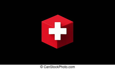 Swiss Flag Cube shape emerging on a black and key green in the orthogonal projection in perfect hexagon shape. National flag of Switzerland in 4K video for sports, political and social events.
