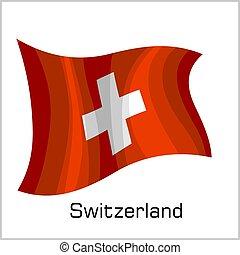 Swiss flag, flag of Switzerland vector illustration