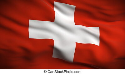 Swiss Flag HD. Looped. - HD 1080. Highly detailed Swiss flag...