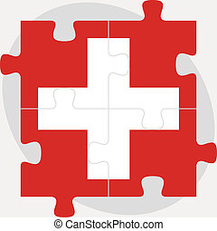 Swiss Flag in puzzle isolated on white background
