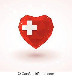 Swiss flag in shape diamond glass heart. Triangulation style