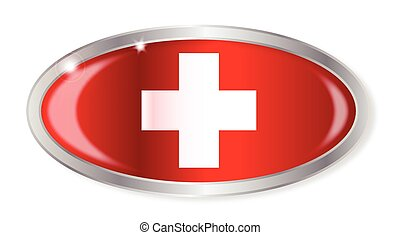 Swiss Flag Oval Button