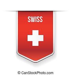Swiss flag ribbon vector