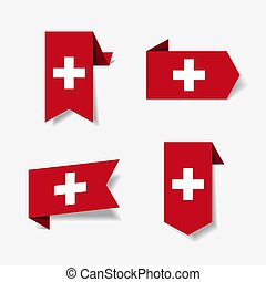 Swiss flag stickers and labels. Vector illustration. - Swiss...