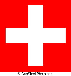 Swiss flag - White cross in square red background for swiss...