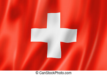 Swiss flag - Switzerland flag, three dimensional render,...