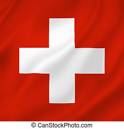 Swiss national flag background texture.