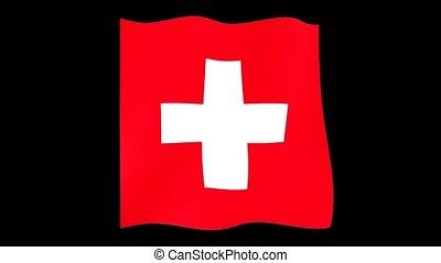 Swiss flag .  Waving