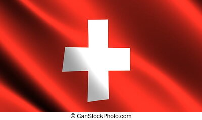 Swiss flag waving in the wind