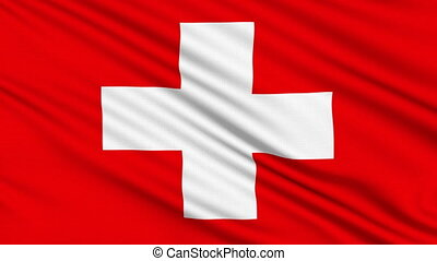 Swiss flag, with real structure of a fabric