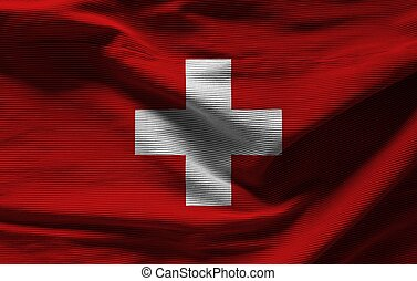 Swiss flag with texture on background