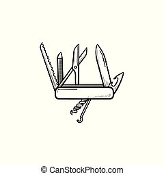Swiss folding knife hand drawn outline doodle icon....