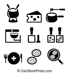 Swiss food and dishes icons