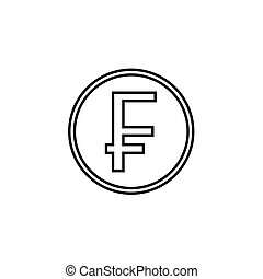 Swiss franc coin line icon, finance and business