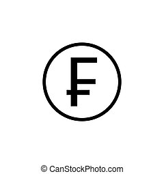 Swiss franc coin solid icon, finance and business