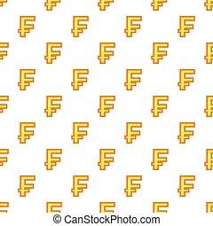 Swiss franc currency symbol pattern, cartoon style