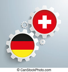 Swiss Germany Partnership Gears - White gears with german...