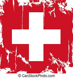 Swiss grunge flag. Vector illustration. Grunge effect can be...