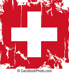 Swiss grunge flag. Vector illustration. Grunge effect can be...