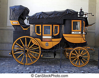 swiss historic carriage in Zurich, Switzerland