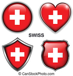Swiss icons - Swiss flag icons, vector buttons.