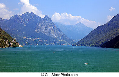 Swiss lake and Alps, picturesque Europe.
