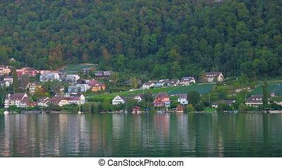 """swiss lake view on alps mountain, switzerland"""