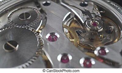 Swiss made wrist watch movement, macro video