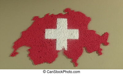 Swiss map an flag, timelapse